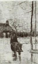 "Копия картины ""woman with wheelbarrow at night"" художника ""ван гог винсент"""
