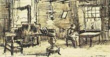 "Репродукция картины ""interior with woman sewing"" художника ""ван гог винсент"""