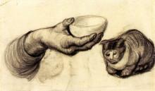 """Картина """"Hand with Bowl and a Cat"""" художника """"Ван Гог Винсент"""""""