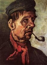 "Репродукция картины ""head of a peasant with a pipe"" художника ""ван гог винсент"""