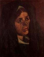 "Репродукция картины ""head of a peasant woman in a green shawl"" художника ""ван гог винсент"""