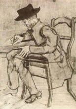 """Копия картины """"man writing facing left"""" художника """"ван гог винсент"""""""