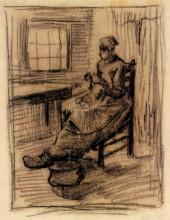 "Картина ""Interior with Peasant Woman Peeling Potatoes"" художника ""Ван Гог Винсент"""