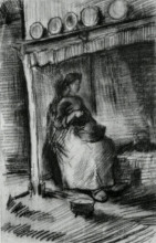 "Репродукция картины ""Interior with Peasant Woman Sitting near the Fireplace"" художника ""Ван Гог Винсент"""