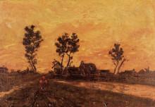 """Копия картины """"landscape at sunset"""" художника """"ван гог винсент"""""""