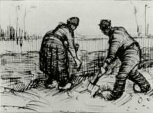 "Репродукция картины ""Peasant Man and Woman Planting Potatoes"" художника ""Ван Гог Винсент"""