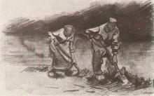 "Копия картины ""peasant man and woman, digging"" художника ""ван гог винсент"""