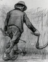 """Картина """"peasant with sickle, seen from the back"""" художника """"ван гог винсент"""""""