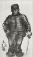 "Картина ""peasant with walking stick, and little sketch of the same figure"" художника ""ван гог винсент"""