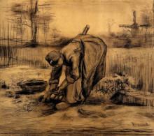 "Копия картины ""peasant woman lifting potatoes"" художника ""ван гог винсент"""