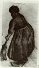 "Репродукция картины ""peasant woman with broom"" художника ""ван гог винсент"""