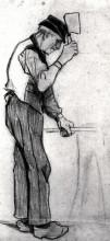 "Репродукция картины ""peasant with a chopping knife"" художника ""ван гог винсент"""