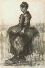"""Картина """"peasant woman, carrying wheat in her apron"""" художника """"ван гог винсент"""""""
