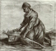"Репродукция картины ""peasant woman, kneeling with chopper"" художника ""ван гог винсент"""