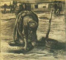 "Картина ""Peasant Woman, Planting Potatoes"" художника ""Ван Гог Винсент"""