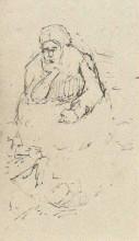 """Репродукция картины """"peasant woman, sitting with chin in hand"""" художника """"ван гог винсент"""""""