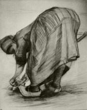 "Репродукция картины ""Peasant Woman, Stooping with Spade, Possibly Digging Up Carrots"" художника ""Ван Гог Винсент"""
