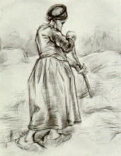"""Картина """"Peasant Woman, Tossing Hay, Seen from the Back"""" художника """"Ван Гог Винсент"""""""
