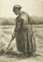 "Репродукция картины ""Peasant Woman, Working with a Long Stick"" художника ""Ван Гог Винсент"""