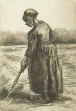 """Копия картины """"peasant woman, working with a long stick"""" художника """"ван гог винсент"""""""