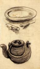 """Картина """"plate with cutlery and a kettle"""" художника """"ван гог винсент"""""""