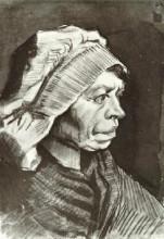 """Репродукция картины """"portrait of a woman (head of a peasant woman with bonnet)"""" художника """"ван гог винсент"""""""