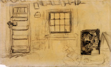 "Репродукция картины ""Studies of the Interior of a Cottage, and a Sketch of The Potato Eaters"" художника ""Ван Гог Винсент"""