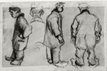 "Репродукция картины ""Studies of Three Peasants and a Head"" художника ""Ван Гог Винсент"""