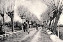 """Копия картины """"road with pollard willows and man with broom"""" художника """"ван гог винсент"""""""