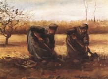 "Картина ""two peasant women digging potatoes"" художника ""ван гог винсент"""