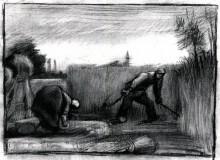 """Картина """"Wheat Field with Mower and a Stooping Peasant Woman"""" художника """"Ван Гог Винсент"""""""