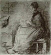"""Картина """"Woman, Sitting by the Fire, Peeling Potatoes"""" художника """"Ван Гог Винсент"""""""