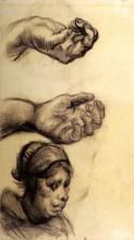 """Копия картины """"Two Hands and a Woman s Head"""" художника """"Ван Гог Винсент"""""""