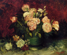 "Репродукция картины ""bowl with peonies and roses"" художника ""ван гог винсент"""
