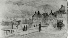 "Копия картины ""people walking in front of the palais du luxembourg"" художника ""ван гог винсент"""