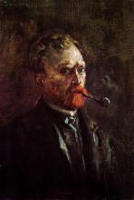 "Репродукция картины ""self-portrait with pipe"" художника ""ван гог винсент"""