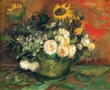 "Репродукция картины ""still life with roses and sunflowers"" художника ""ван гог винсент"""