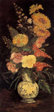 "Репродукция картины ""vase with asters, salvia and other flowers"" художника ""ван гог винсент"""