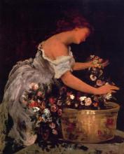 "Картина ""young girl arranging flowers"" художника ""вибер жан жорж"""