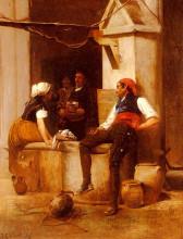 "Копия картины ""chatting by the fountain"" художника ""вибер жан жорж"""
