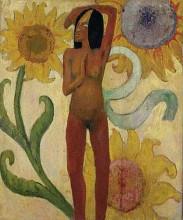 """Картина """"Карибская женщина, или Обнаженная с подсолнухами"""" художника """"Гоген Поль"""""""