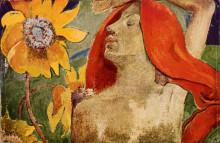 """Репродукция картины """"Рыжеволосая женщина и подсолнухи"""" художника """"Гоген Поль"""""""
