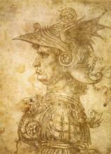 "Репродукция картины ""Profile of a warrior in helmet"" художника ""да Винчи Леонардо"""