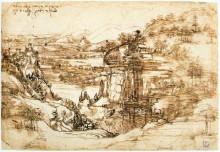 """Репродукция картины """"Landscape drawing for Santa Maria della Neve"""" художника """"да Винчи Леонардо"""""""