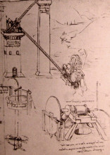 "Репродукция картины ""Drawings of machines"" художника ""да Винчи Леонардо"""