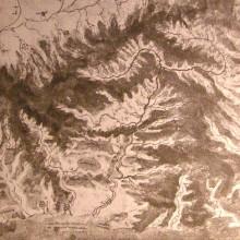 "Репродукция картины ""Topographical drawing of a river valley"" художника ""да Винчи Леонардо"""