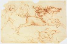 "Репродукция картины ""Galloping Rider and other figures"" художника ""да Винчи Леонардо"""