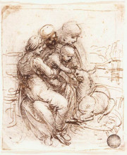 "Картина ""Study of St. Anne, Mary, the Christ Child and the young St. John"" художника ""да Винчи Леонардо"""