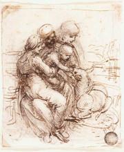 "Копия картины ""study of st. anne, mary, the christ child and the young st. john"" художника ""да винчи леонардо"""