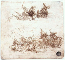 "Репродукция картины ""Page from a notebook showing figures fighting on horseback and on foot"" художника ""да Винчи Леонардо"""
